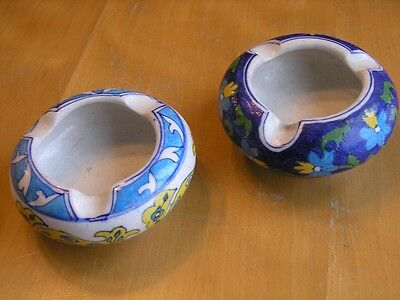 Pair Vintage Iznik Style Persian Turkish Ceramic Hand Painted Ashtrays