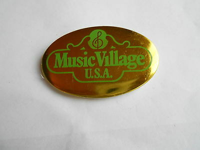 Cool Vintage Music Village USA Musical Instrument Store Advertising Pinback