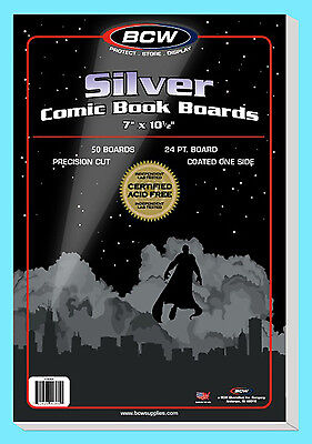 """50 BCW SILVER AGE SIZE COMIC BOOK BACKING BOARDS 7"""" x 10-1/2"""" Storage Backer"""