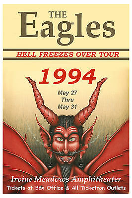 The Eagles * Hell Freezes Over Tour * Irvine Meadows Concert Poster 1994