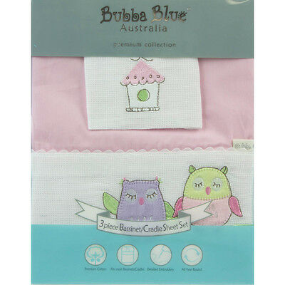 Bubba Blue Embroidered Baby Owl Girl Bassinet Sheet Set