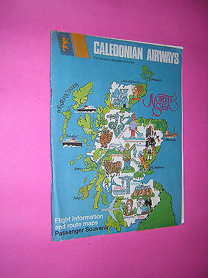 CALEDONIAN AIRWAYS. FLIGHT INFORMATION & ROUTE MAPS PASSENGER SOUVENIR. c1968