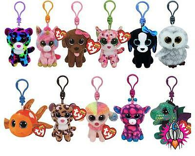 New Official Ty Animals Plush Soft Toy Keyring Key Bag Ring Chain Clip