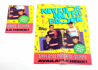 "Lot of (7) 1989 Topps New Kids on the Block 10"" x 14"" Trading Card Promo Posters"