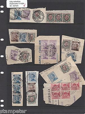 1924 Italy, A Selection of Postmarks on 32 Stamps