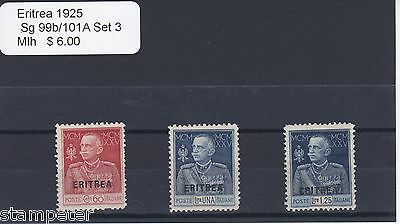 1925 Eritrea, SG 99b/101A Set of 3, MLH, Poste Italiane