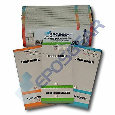 100 Tear Off Slip Coloured Restaurant Cafe Pub Food Waiter Numbered Order Pads