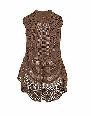 The Good Bead Coco & Carmen Taupe Crochet Collar Cable Knit Vest LG/XL