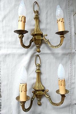 PAIR of Antique French gilded brass  WALL Light Lamp SCONCES