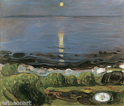 Edvard Munch - Summer night by the beach Giclee Canvas Print repro
