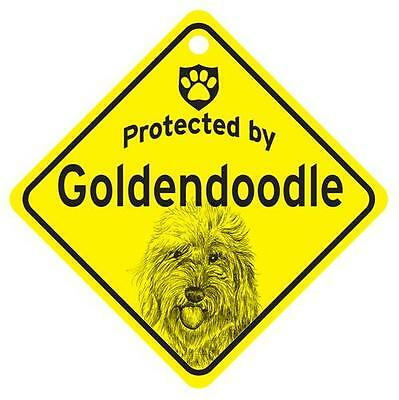 Protected by Goldendoodle Window Sign Made in USA