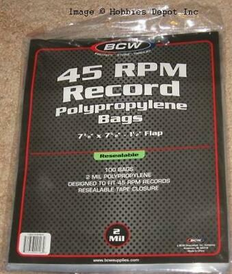 100 Resealable BCW 45RPM Record Single Acid Free Clear Archival 2 Mil Poly Bags