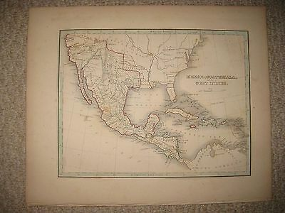 Antique 1835 Mexico Bradford Map Texas Republic Austin California United States