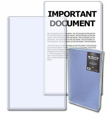 Pack of 20 BCW 8.5 x 14 Legal Document / Photo Hard Plastic Topload Holders