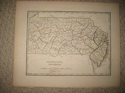 Early Antique 1835 New Jersey Pennsylvania Bradford Handcolored Map Canal Rare
