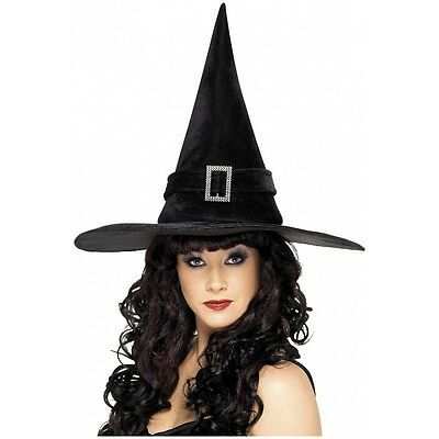 Witches Hat with Diamante Buckle Costume Accessory Adult Halloween