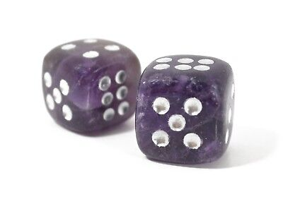 Amethyst Gemstone - Dice Pair 15mm d6 FREE Pouch - FREE SHIPPING Worldwide