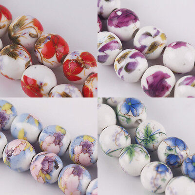 Hot 10/20Pcs Round Ceramic Porcelain Flowers Painting Loose Spacer Beads 10mm