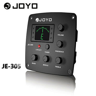 Pro JOYO JE-305 4 Band EQ Equalizer Acoustic Guitar Preamp Piezo Pickup & Tuner