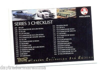 2014 Holden Master Collection series 3 set of 110 common cards