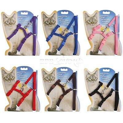 Adjustable Nylon Pet Cat Kitten Harness Lead Leash Neck Collar Belt Safety Rope