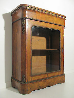 Original Antique Victorian Burr Walnut Inlaid Pier Cabinet Circa 1860