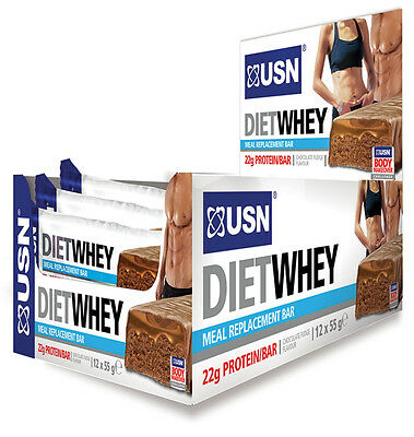 USN Diet Whey Protein Bar Meal Replacement 12 x 55g Bars
