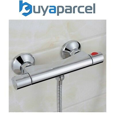 Chrome Thermostatic Bar Mixer Shower Exposed Valve Only - Bottom Outlet Brass