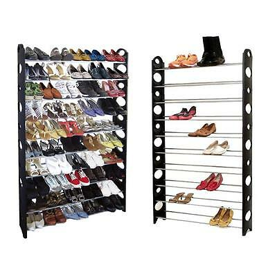 50 Pair 10 Tier Shelf Shoe Rack Organizer Stand Cupboard For Shoes Easy Assemble