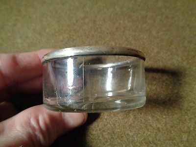 small Antique GLASS SALT DISH with STERLING SILVER Rim Edge