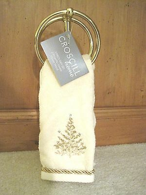 NEW Croscill Home Christmas Tree Fingertip Towels with Gold Stand 3 Pc Set Gift