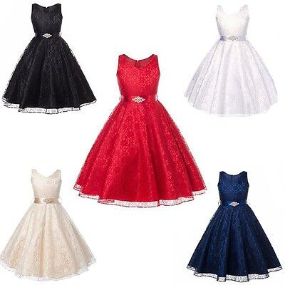 Flower Girl Dress Lace Princess Formal Pageant Wedding Bridesmaid Graduation NEW