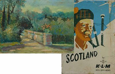 Old Original Unknown Europe View Oil Painting + Back Dutch KLM Poster Scotland