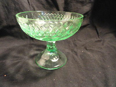 Green Floral and Diamond Band Compote MINT