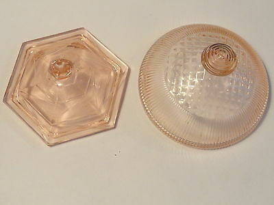 Pink Homespun Depression Glass Butter Dish  Lid And A Sugar Lid
