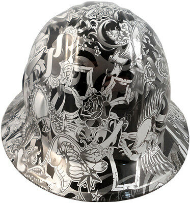 NEW! Hydro Dipped FULL BRIM Hard Hat w/Ratchet Suspension - Tattoo Silver