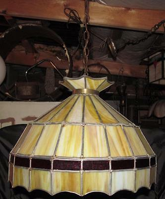 Vintage Leaded Slag Stained Glass Bar Pool Table Chandelier Shade