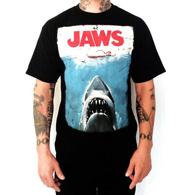 Authentic JAWS Great White Shark Distressed Movie Poster Logo T-Shirt S-2XL NEW