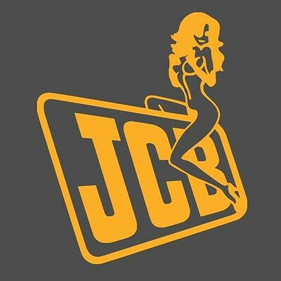 JCB Digger Tractor Decal Funny Girl on Logo Sticker x 2