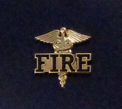 "FIRE Caduceus medical insignia Gold Lapel Pin 1""  ems/emt/medic/dept/company"