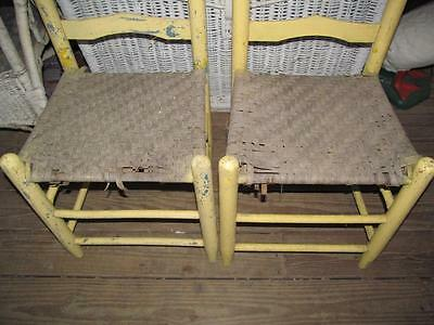 Vintage 2 Yellow Ladderback Wicker Seat Chairs Yard Garden Porch Decor