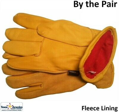 Deerskin Leather Palm Glove with Fleece Lining and Split Leather Back (PAIR)