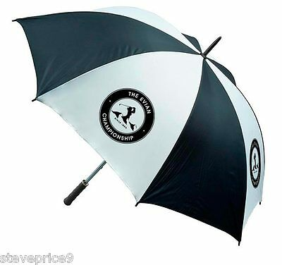 Brand New Ladies Black  / White Golf Umbrella. The Evian Championship Crested.