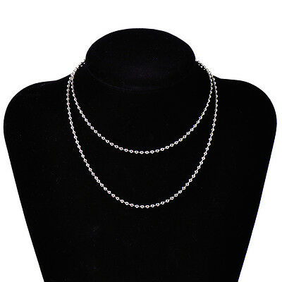 "New 23"" Silver Dog Tag Ball Chain Round Ball Bead Necklace Stainless Steel 2.4mm"