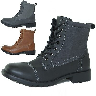 Alpine Swiss Men's Combat Boots Lug Sole Rugged Canvas Trim Military Field Shoes