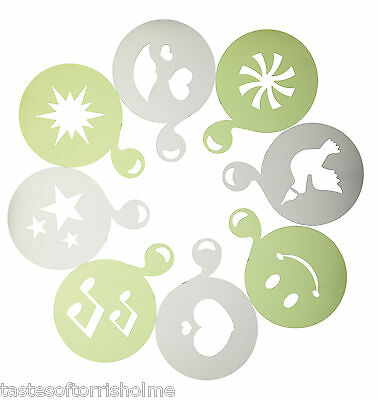 Kitchencraft Set of 8 Brand New Cappuccino Coffee Decorating Stencils Shapes