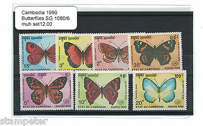 1990 Cambodial Butterflies Set of 7 SG 1080/6 MUH
