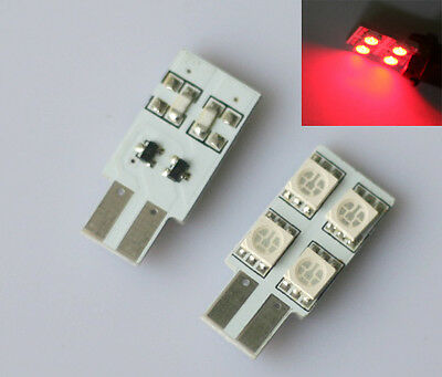 2x rote 4SMD LED T10 12V hell Auto Innenraum Beleuchtung Licht Lampe rot