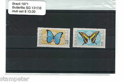 1971 Brazil Butterflies SG 1317/8 Set of 2 MUH