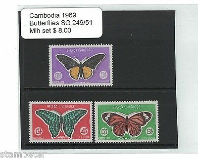 1969 Cambodia Butterflies SG 249/51 Set of 3 MLH